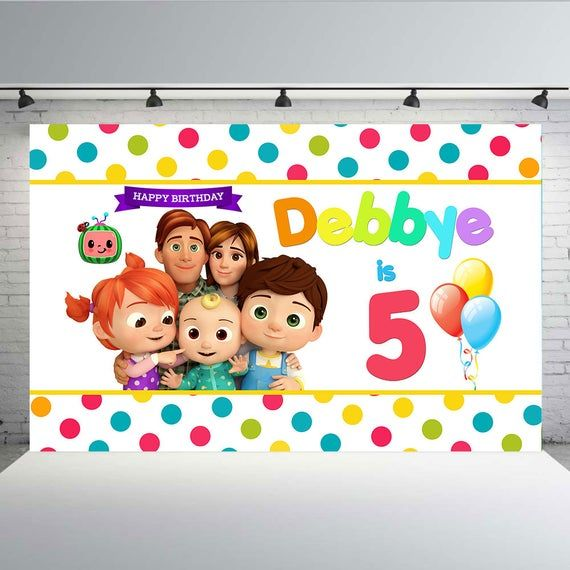 Cocomelon Nursery Rhymes Youtube Back Drop Backdrop Birthday Banner Baby Party Theme 1st Birthday Party Themes Baby Party Themes Happy Birthday Wallpaper