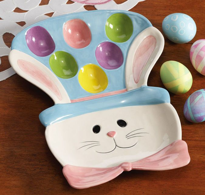 Superior Easter Egg Bunny Ceramic Serving Platter Awesome Ideas