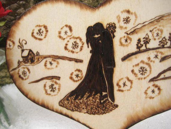 winter weding cake topper rustic romantic silhouette by rivdomart   24 50