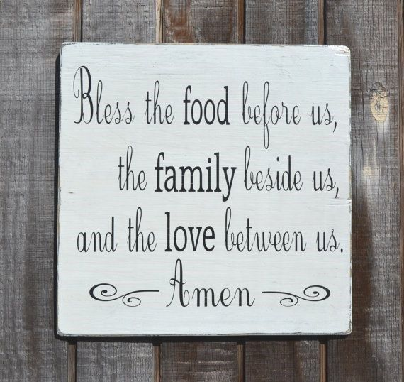 Bless the food before us %u2013 Holidays %u2013 Painted Wood Sign Rustic %u2013 Wedding Gift %u2013 Thanksgiving Christmas %u2013 Dining Room Kitchen Blessing Sign