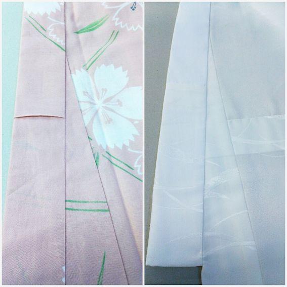 長襦袢の衿には『掛衿が付かない』 ・ 『衿の生地が身頃と同じではなくて、そして衿先布というのを付ける』 ・ 『半衿を付ける』 など など 違いがたくさん。