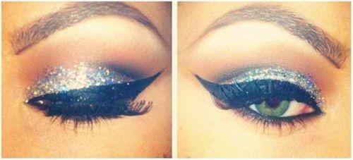 Prom makeup: Silver Glitter, Make Up, Eye Makeup, Cat Eye, Style, Glitter Eyeshadow, Eyeshadows, Beauty, Hair