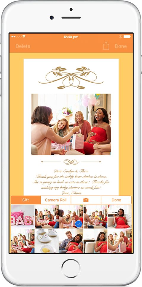 OurGifts app used gift details to craft the thank you note and quickly create thank you cards!