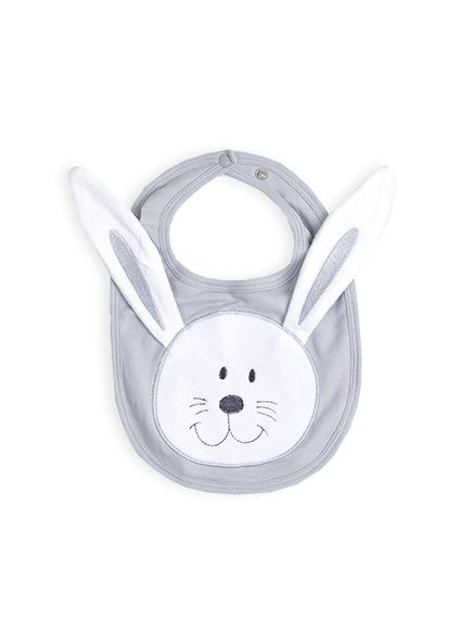 Hare Face Bib in grey from Pumpkin patch