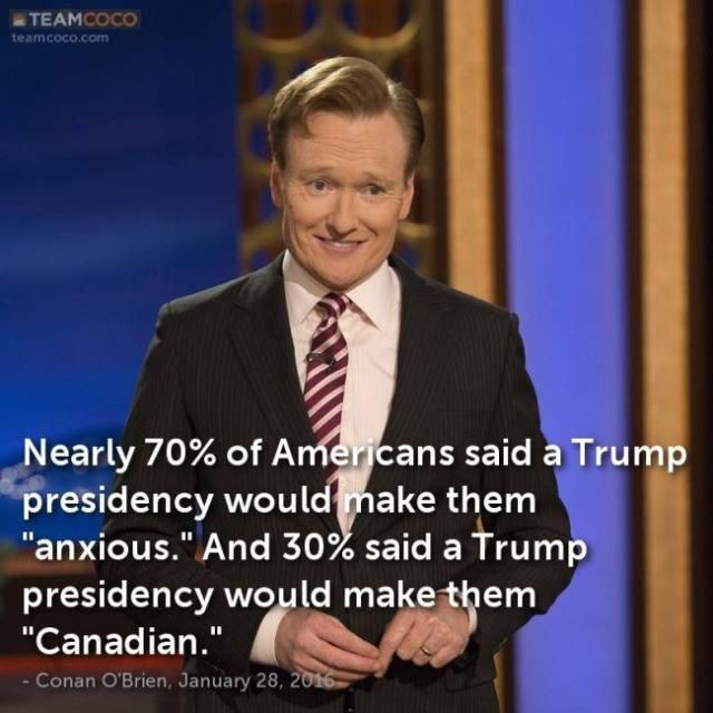 Funny Quotes About Donald Trump by Comedians and Celebrities: Conan on a Trump Presidency