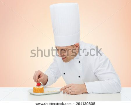 cooking, profession, haute cuisine, food and people concept - happy male chef cook decorating dessert over beige background - stock photo
