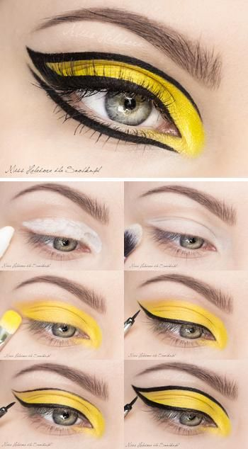 Crazy fun bright yellow eye make up with thick black eyeliner definition