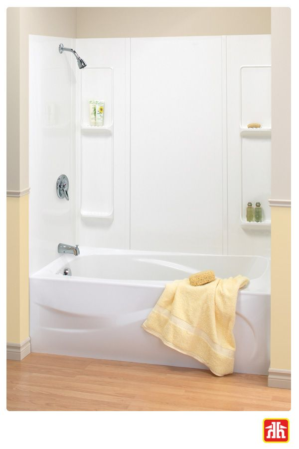 Don't have enough storage in your shower? This tub wall has four spacious shelves for all your needs