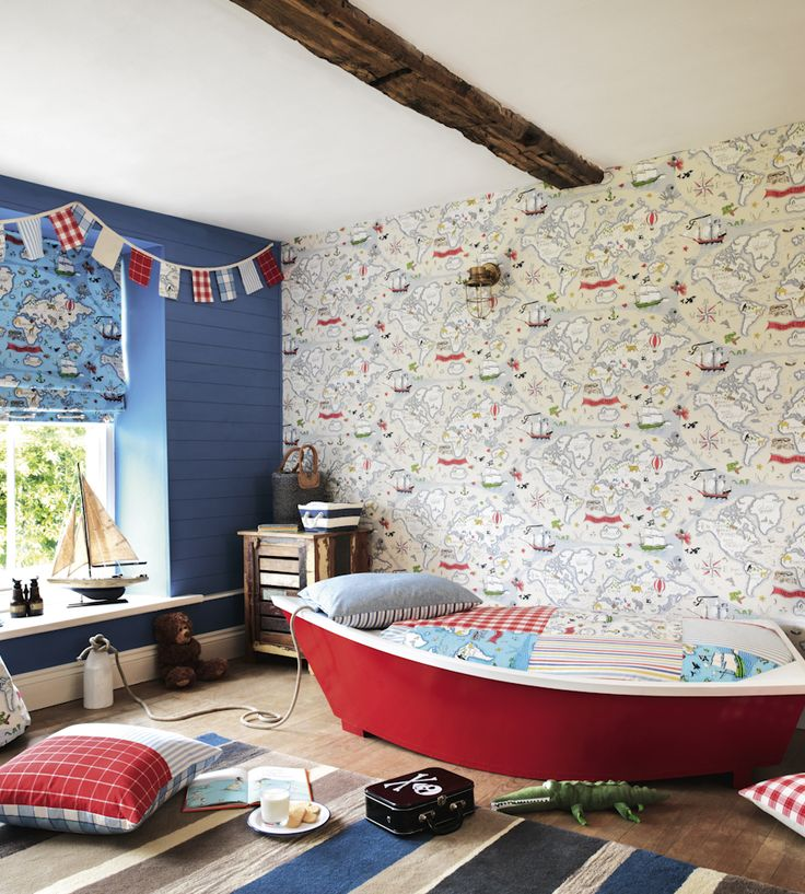 How to Style | Boys Rooms | Treasure Map Wallpaper by Sanderson | Jane Clayton