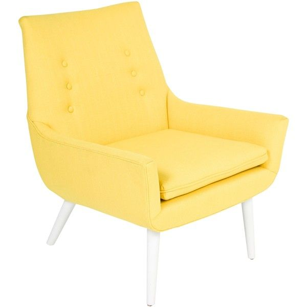 Pre-owned Jonathan Adler Mrs. Godfrey Armchair ($745) ❤ liked on Polyvore featuring home, furniture, chairs, accent chairs, yellow, upholstered chairs, oversized armchair, upholstered accent chairs, fabric armchairs and oversized chairs