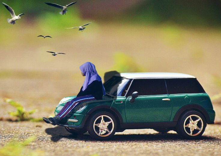 Mini people on car