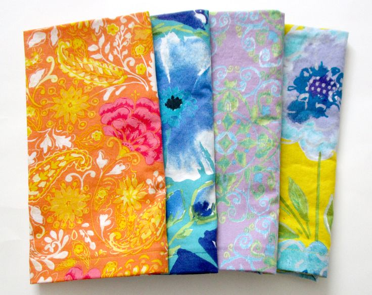 Cloth Napkins - Set of 4 - Dinner, Table, Everyday, Wedding - Mismatched, Assorted, Variety - Orange Yellow Blue Purple Flowers Floral Ikat by ClearSkyHome on Etsy
