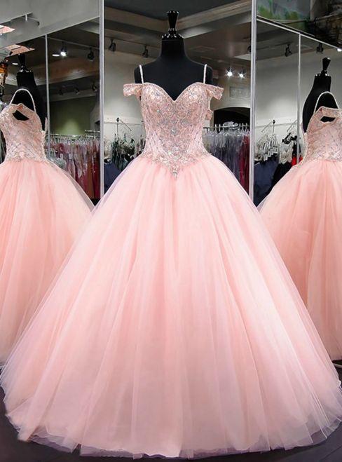ca42ed27d25 Ball Gown Cap Sleeve Sweet 16 Light Pink Beaded Quinceanera Dress M6458