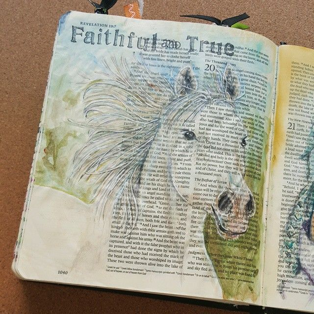 Going to be sharing this Illuminated Journaling post on my blog later. Revelation 19:11 tells of a white horse and the One riding it is named Faithful and True! That's my Savior. ..faithful and true!