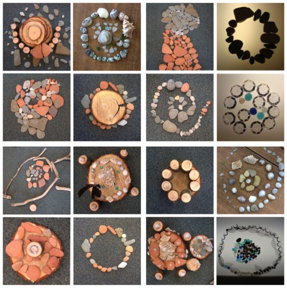 1sr grade Andy Goldsworthy inspired. Dots using natural materials - rocks. Explore, manipulate, math, science, and language.