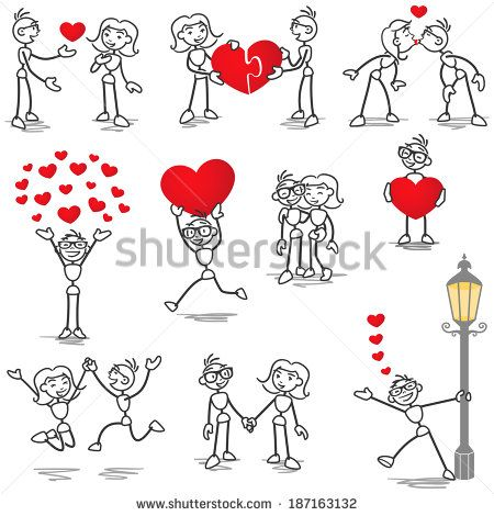 Set of stick figures: Stickman and woman in love, with hearts, holding hands, kissing.