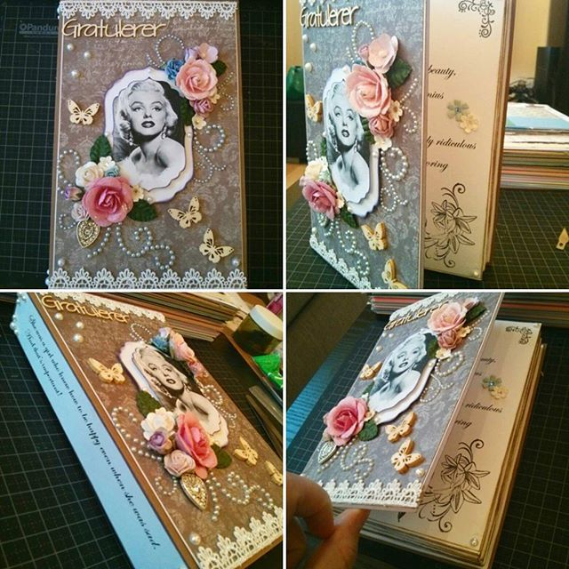 Got inspired by a colleague to make a Marilyn Monroe card! My first book card. #papercraft #handmade #marilynmonroe #scrapbooking #scrapagram #pink #flowers #birthday #birthdaycard