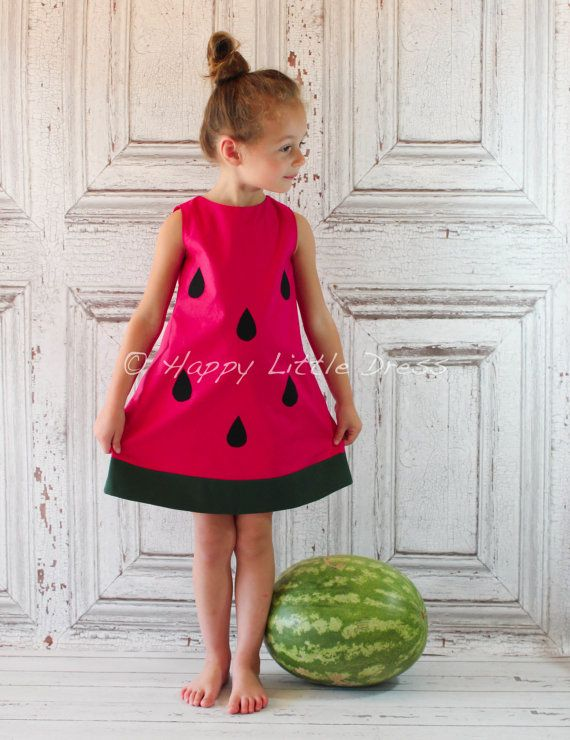 Girls Dress. Watermelon A Line Dress for by HappyLittleDress