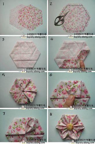 -origami fabric flowers