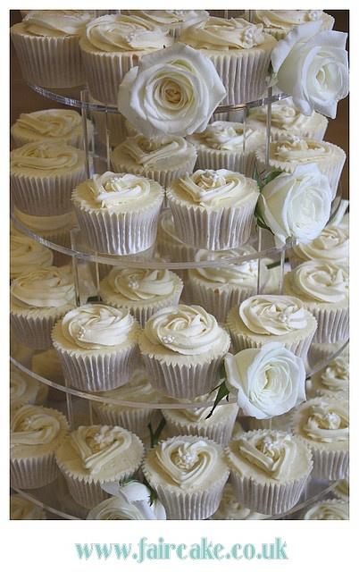 White Wedding Cupcakes Closeup By Fair Cake Via Flickr
