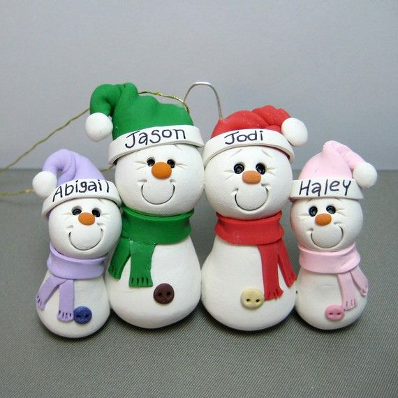 Christmas Crafts For Family Part - 41: Snowman Family Polymer Clay Ornament By Clayinu0027 Around, Via Flickr