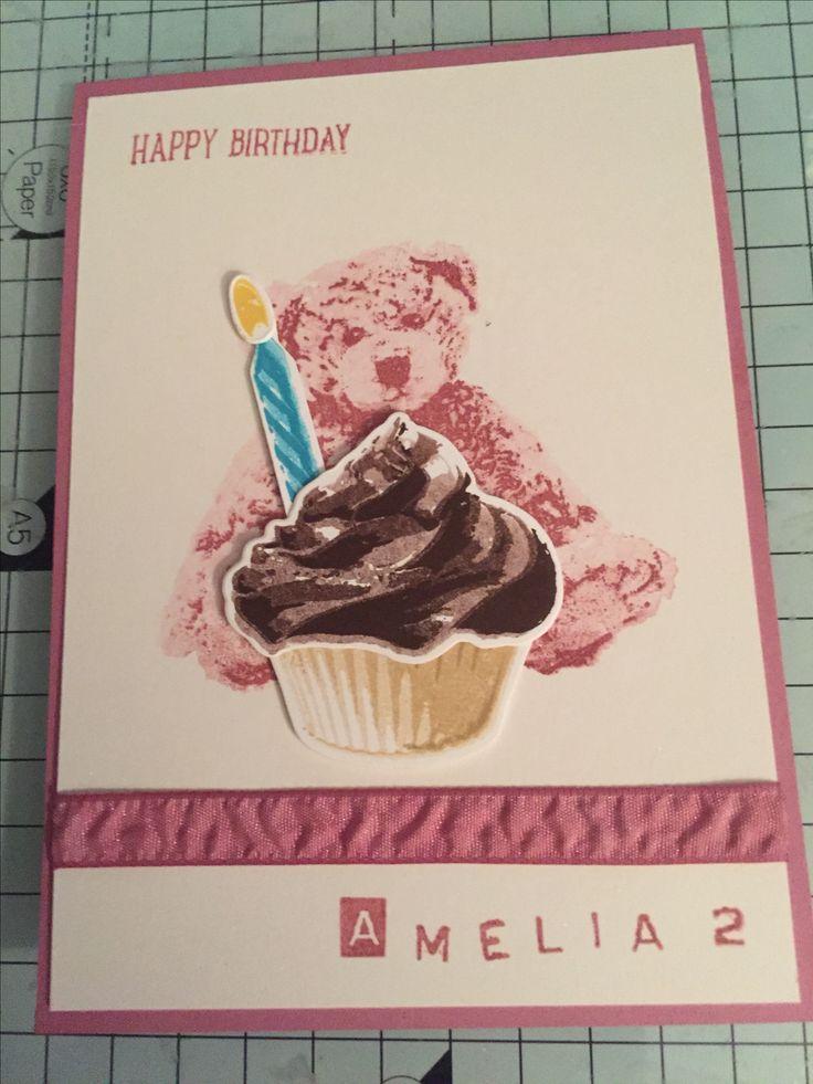 A6 card using Stampin' Up! Sweet cupcake stamp set, cupcake cutout framelits,baby bear stamp set and sweet sugarplum ribbon