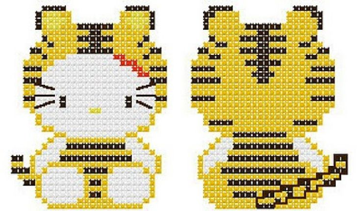 Hello Kitty in Tiger Costume Hama Perler Bead Pattern or Cross Stitch Chart