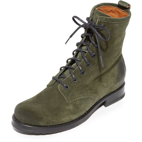 Frye Veronica Combat Boots ($278) ❤ liked on Polyvore featuring shoes, boots, lace up combat boots, frye boots, low-heel boots, leather lace up boots and vintage leather boots