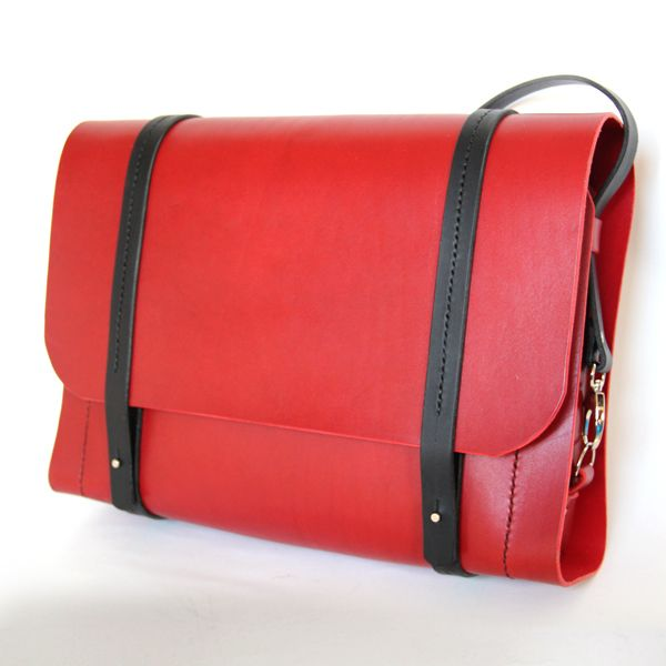 The Charlie red with black straps handstitched veg tan leather satchel backpack £310.00
