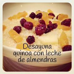 Desayuno de quinoa con leche de almendras y frutas <3 #saludable #desayuno #estudiantes