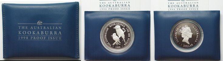 1998 Australien 1 oz silver AUSTRALIAN KOOKABURRA 1 Dollar 1998 in folder w. cert. Proof # 94517 Proof