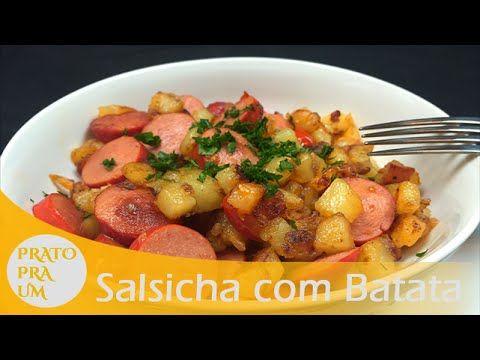 Salsicha com batata pra um   Prato Pra Um