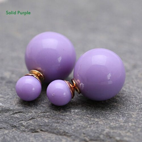 Dobbelt perleøreringe lilla
