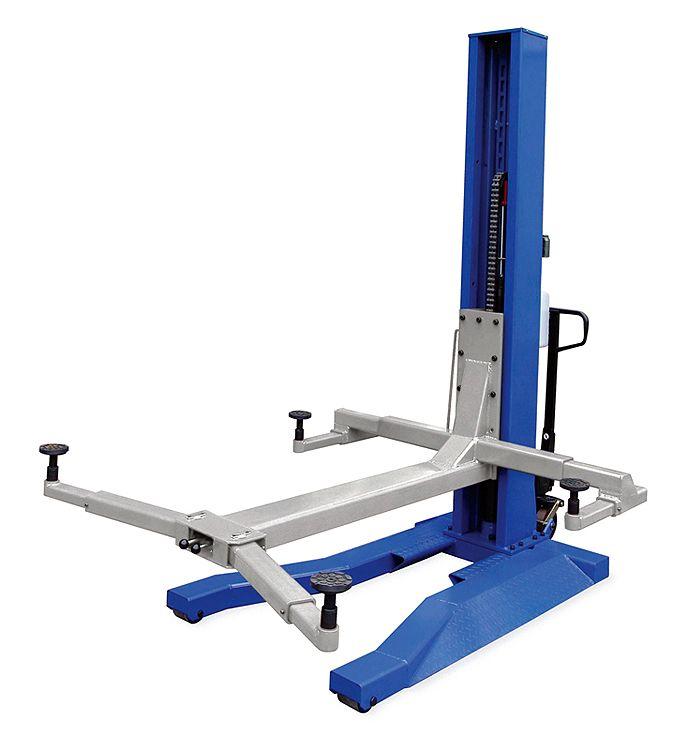 6,000 lb. Blue Mobile Single Column Lift - Car Guy Garage
