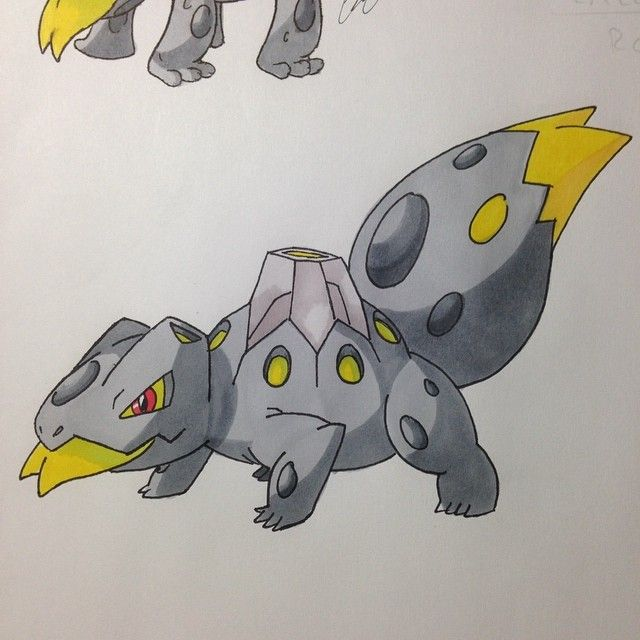 Komotox  The Komodo PkMn The evolved form of Salacinder. Evolves starting lvl 38.  Type: Rock/Poison Ability: Intimidate/ Effect Spore Hidden Ability: Rough Skin Pokedex Entry: the design on it's tail mimics it's face, protecting it from rear attacks. Type chart for a new type match: Immune to:  Poison Resistant to:  Fairy Normal Fire Flying Bug Weak to: Water Ground (x4) Steel Psychic #pokemon #amethystversion #fakemon #pokemonart #art #fanart #doodle #drawing #sketch #prismacolor…