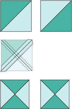 Quick Pieced Quarter Square Triangle Units