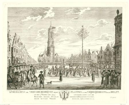 Vrijheidsboom op de Markt toen de kale Fransen even de macht hadden gegrepen in Nederland.