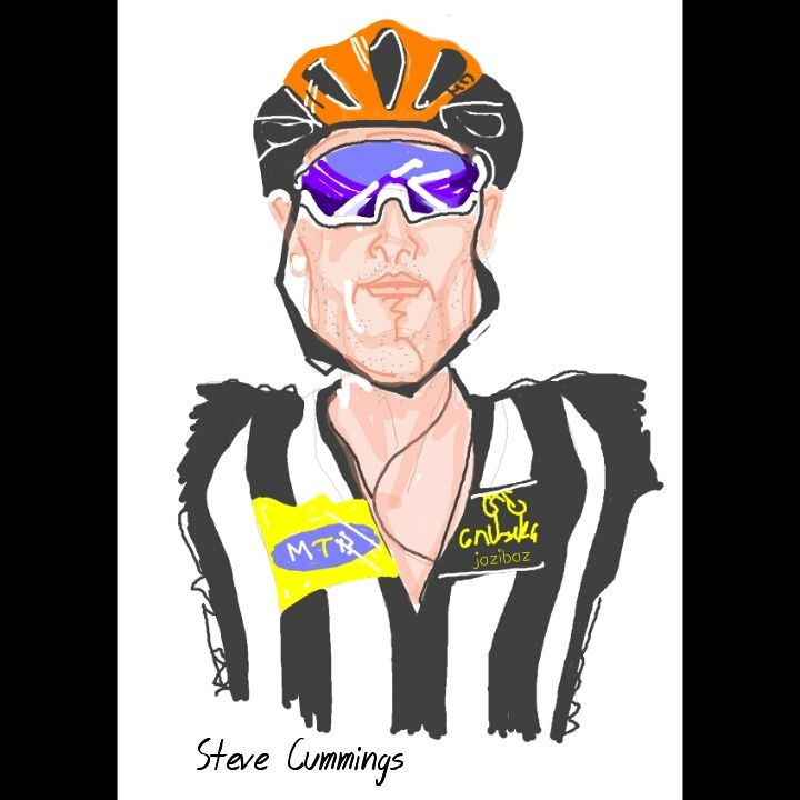 "Sketched on 7 "" Samsung tablet.  Britain's Steve Cummings wins for Africa's MTN-Qhubeka wearing a orange helmet to celebrate Mandela Day."