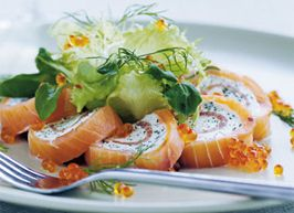 Salmon roulade; 1. place thin slices of salmon so they overlap 2. Spread cremechease on top 3. Roll 4. Wrap in plasticfoil 5. Put in freezer 6. Take it out of the freezer ½ hour before you need to serve it. It's easier to cut when frozen 7. Garnish with lettuce or caviar. 8. Serve as portions or as an appetizer Love it! Always in my freezer. I also use it for my lunch because I can prepare in advance.