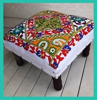 EMBROIDERED FOOTSTOOL MOROCCAN WHITE MINT AQUA FLOWERS FOOT STOOL WOODEN LEGS AU $59.90