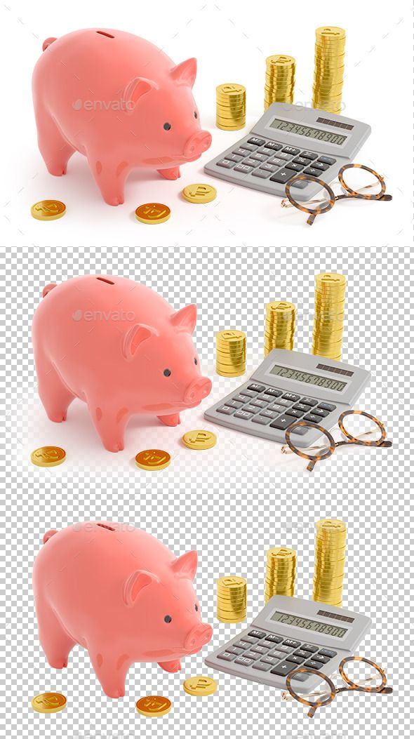 Piggy Bank Accounting (Rouble Coins) by Artystarty Retro style composition of the coin bank near the ruble coins, digital calculator and accounting spectacles/glasses. 3D rendered i