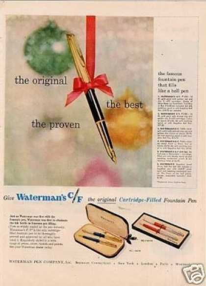 Waterman C/f Fountain Pen (1957)Real Pens, Vintage Pens, Fountain Pens, Pens 1957, Pens Ads