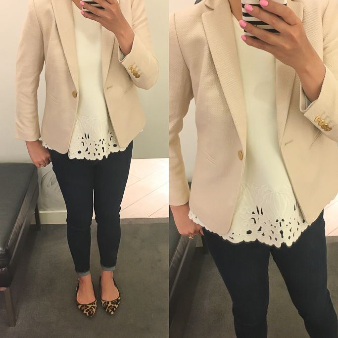 Fitting room reviews - Modern super skinny ankle jeans, Petite Embroidered Floral Top,  Petite Textured Single Button Blazer,  leaopard flats - click the photo for details!