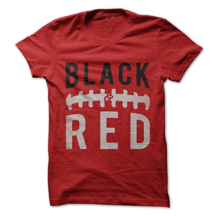 AZ Cardinals! ATL Falcons! TB Bucs! Arkansas Razorbacks! Cincinnati Bearcats! San Diego St Aztecs! TTU Red Raiders! Louisville Cardinals! Stanford Cardinal! Georgia Bulldogs! Arkansas St Red Wolves! NIU Huskies! Utah Utes! Maryland Terrapins! Black and Red football t-shirt. NFL & College Football.