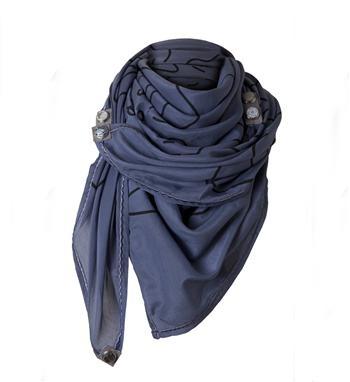 Noosa big doodle scarf. Een vierkante sjaal met patroon geinspireerd op chunks uit de Noosa collectie - Blauw dessin - NummerZestien.eu