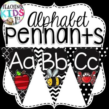 Eye catching black and white pennant banner Letters A-Z with pictures!