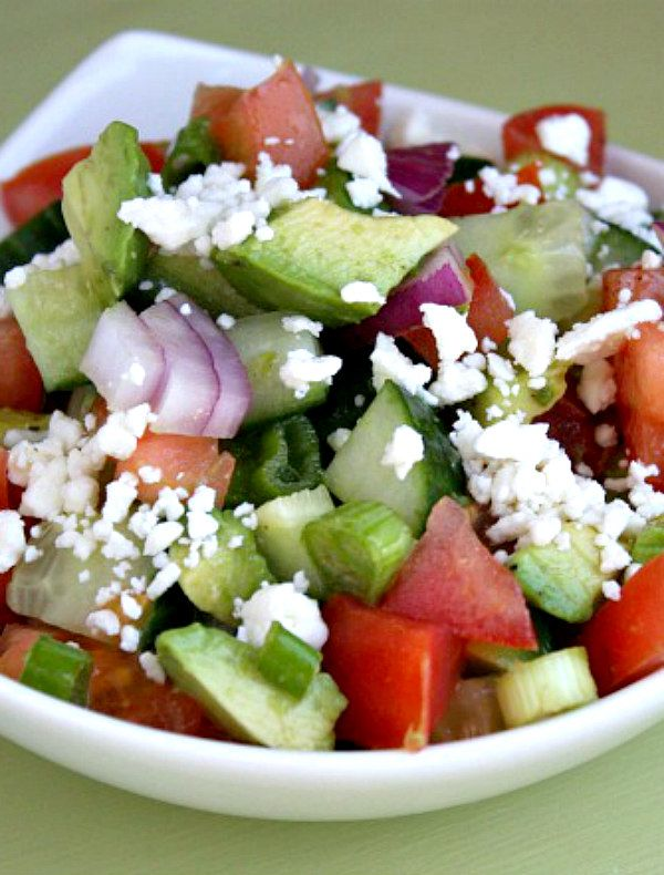 Avocado Cucumber Tomato Salad Recipe:  Weight Watchers Smart Points, Points Plus and nutritional information included.
