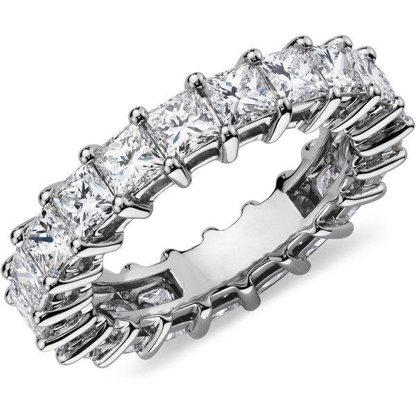 Blue Nile Princess Cut Diamond Eternity Ring ($10,900) ❤ liked on Polyvore featuring jewelry, rings, diamond jewelry, diamond eternity rings, eternity wedding ring, wedding anniversary rings and circle diamond rings