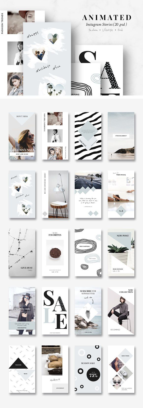 ANIMATED Instagram Story-Pastel blue by CreativeFolks on @creativemarket