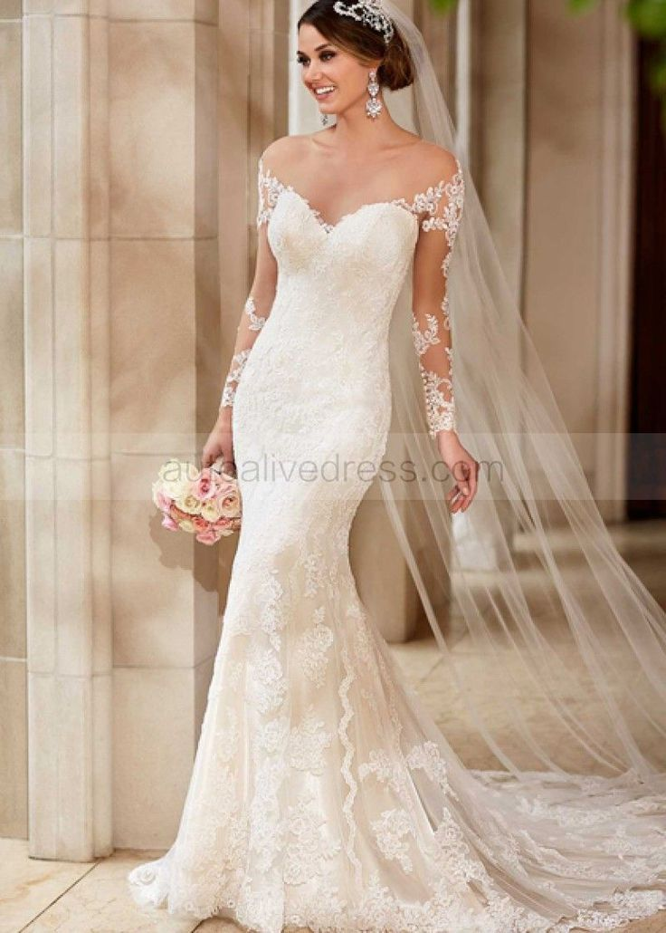 Sheer Neckline Ivory Lace Tulle Long Sleeves Buttons Back Wedding Dress